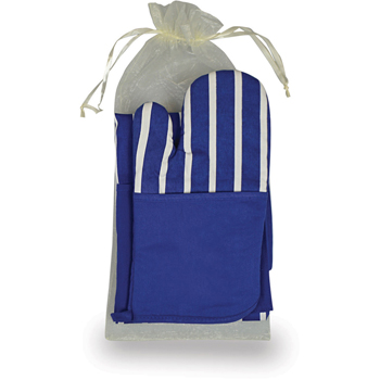Chef'S Therma-Grip Striped Oven Mitt Striped Apron Combo